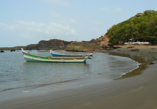 La playa de Om en Gokarna, la India